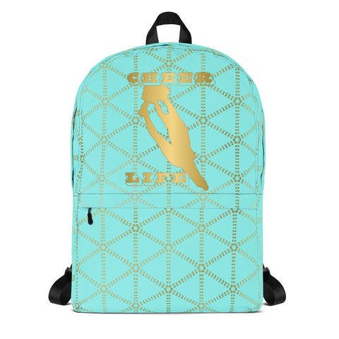 Cheer Aqua and Gold Grid- Backpack- Perfect bag for teams