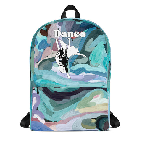 Dancer Silhouette in White on Abstract Design Background- All-Over Print Backpack