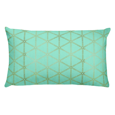 Mint and Gold Grid  Rectangular Pillow