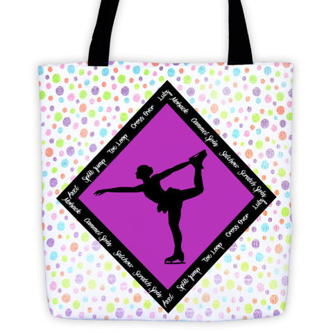 Figure Skating Tote bag Featuring Skate Phrases