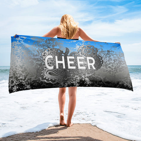 Cheer Doodle on Blue to Black Gradient with Silver Flake-Beach Towel