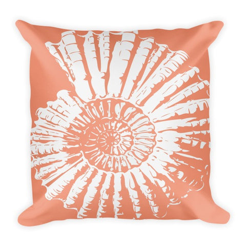 Nautilus Shell Pillow in Coral
