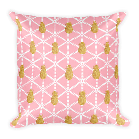 Millennial  Pink and Gold Pineapple Square Pillow Style 3