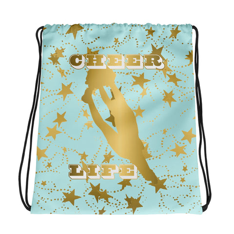 Cheer Life Silhouette in Gold with Gold Stars- Style 13 -Cinch Sak
