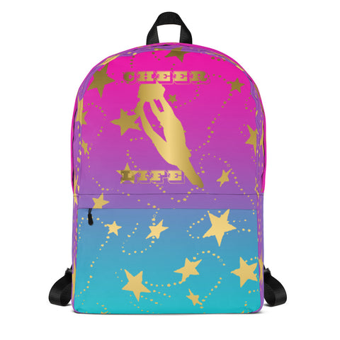 Cheer Life Silhouette in Gold with Gold Stars- Style 3- Backpack-Great for Teams and Squads