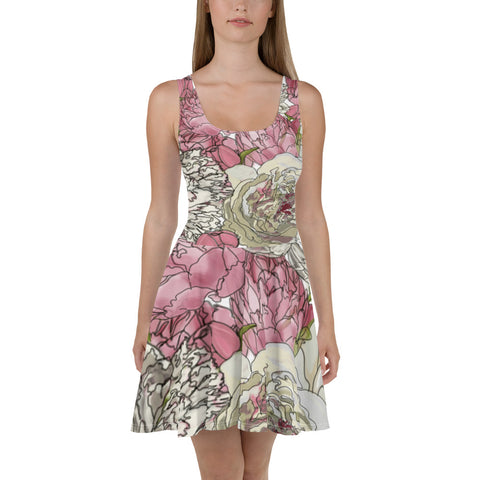 Ladies Pink Peonies Skater Dress