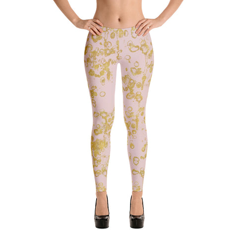 Pink and Gold Flakes Woman's Leggings