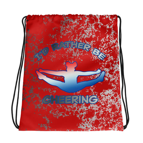 I'd Rather Be Cheering in Red and Silver Drawstring bag