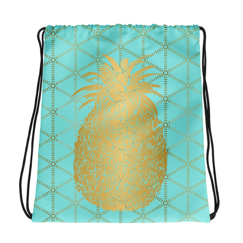 Gold Pineapple with Aqua and Gold Grid- Cinch Sak