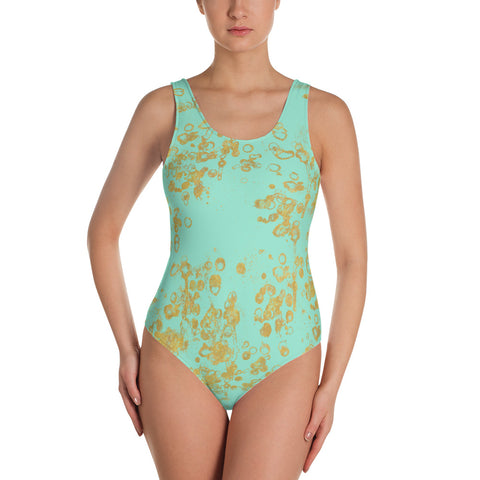Women's Mint and Gold Flake One-Piece Swimsuit