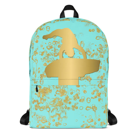 Gymnastics Vault Backpack in Aqua and Gold Flake-Great for teams and clubs
