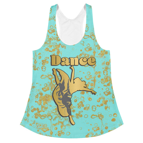 Dance Women's Racerback Tank in Aqua and Gold Flake