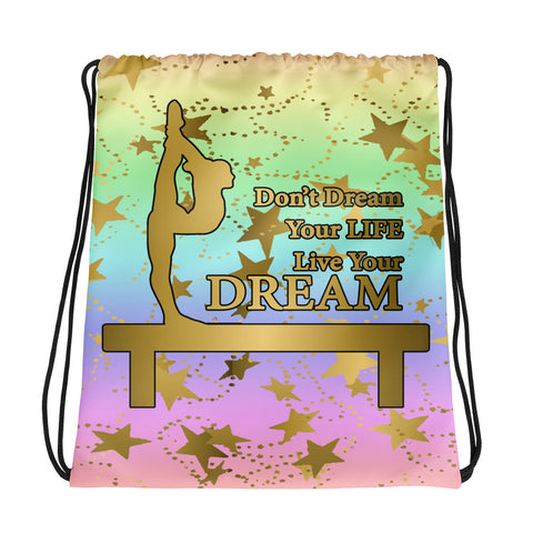 Gymnastics Live your Dream Pastel Rainbow Cinch Sak- Great for Teams or Groups