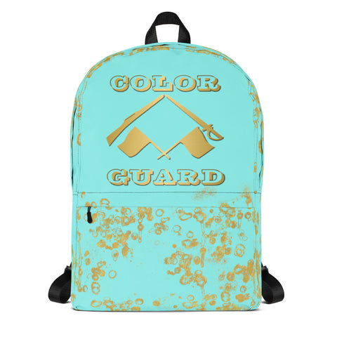 Color Guard Backpack-Style 2 in Aqua and Gold Flake-Great for Groups