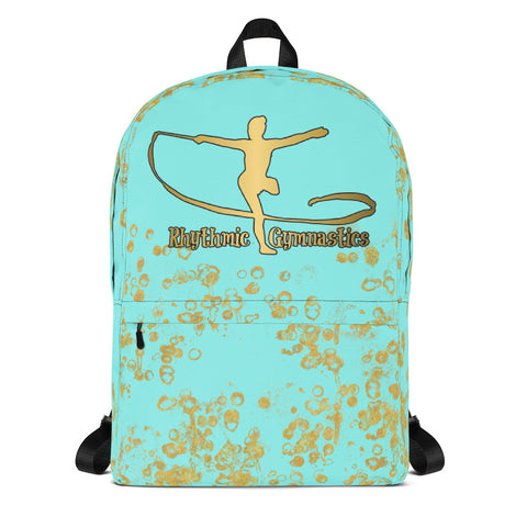 Rhythmic Gymnastics Backpack in Aqua and Gold- Perfect for groups and teams
