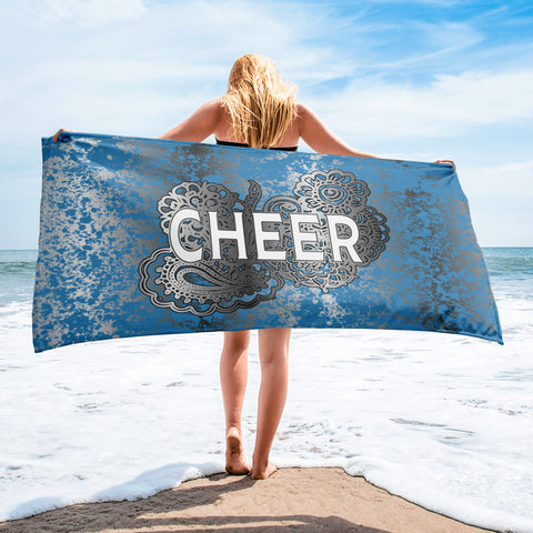 Cheer Doodle Towel Blue and Silver Flake Beach Towel
