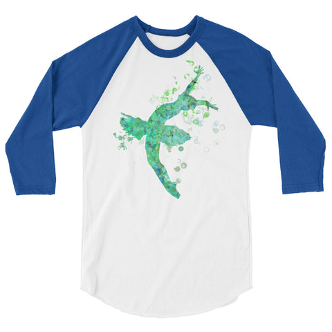 Ballet Dancer Water Color Inspired Silhouette 3/4 Sleeve  Shirt Style 3