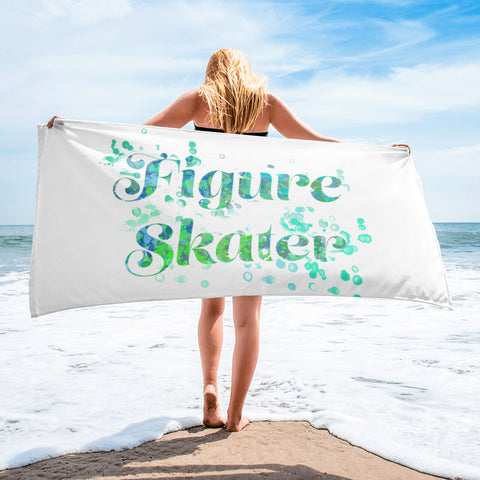 Figure Skating Water Color Design Sublimated Beach Towel