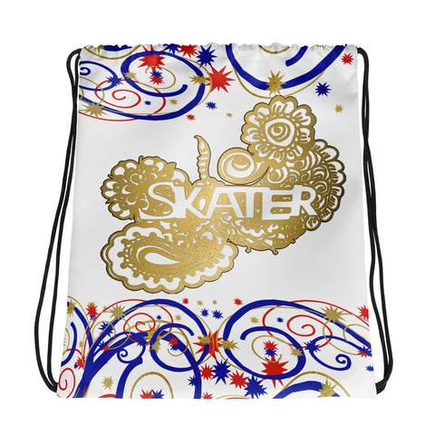 Skater Doodle in Swirls and Stars Drawstring Bag in Red, White, and Blue- Perfect for Clubs or Teams