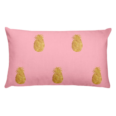 Millennial Pink and Gold Pineapples Style 2 Rectangular Pillow