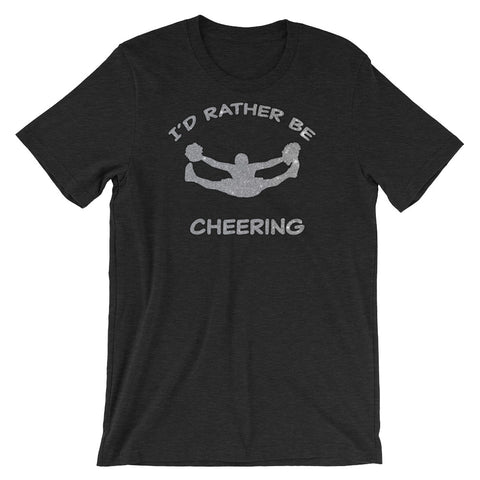 I'd Rather Be Cheering- in Silver Glitter Design- Short-Sleeve Unisex Heathered T-Shirt