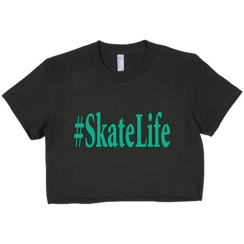 American Apparel Fine Jersey Short Sleeve Cropped T-Shirt- Features Hashtag Skate Life Logo in Blue