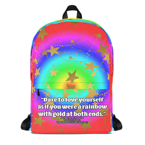 Dare to Love Yourself Rainbow with Gold Stars Backpack