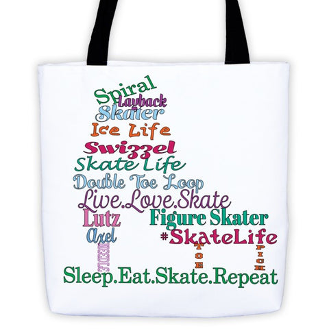 Figure Skater-Tote Bag with Colorful Skate Terms Logo