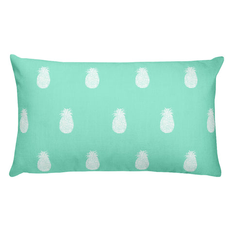 Mint and White Pineapples Rectangular Pillow