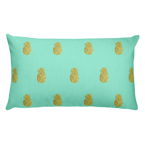 Mint and Gold Pineapple Rectangular Throw Pillow