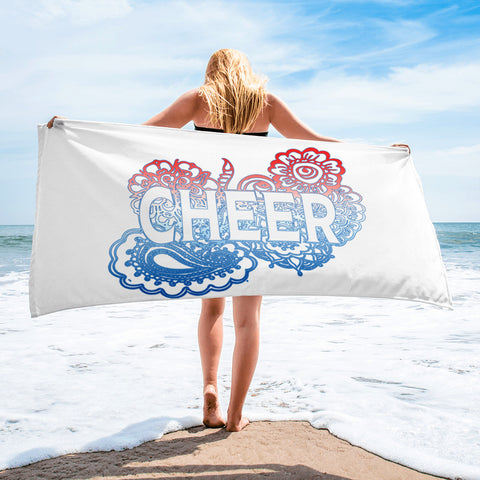 Cheer Doodle on Blue, White, and Red Gradient -Beach Towel