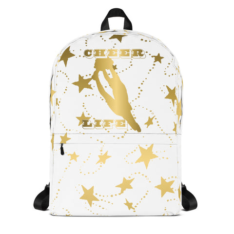 Cheer Life Silhouette in Gold with Gold Stars- Style 15- Backpack-Great for Teams and Squads