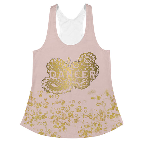 Dancer Doodle in Pink and Gold Flake  Women's Racerback Tank