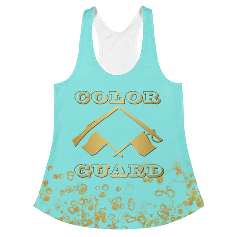 Color Guard Women's Racerback Tank in Aqua and Gold Flakes
