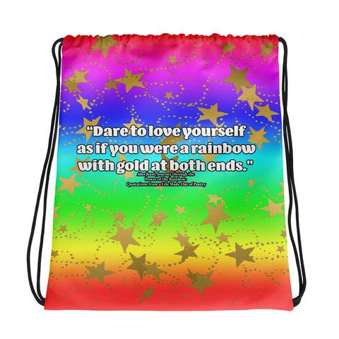Dare to Love Yourself- Rainbow Gradient with Gold Stars Design Cinch Sak- Style 2