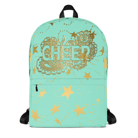 Cheer Doodle with Gold Stars -Backpack- Perfect for Teams can be Customized