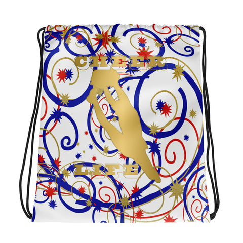 Cheer Swirls and Stars Drawstring Bag- Great for Teams and Squads