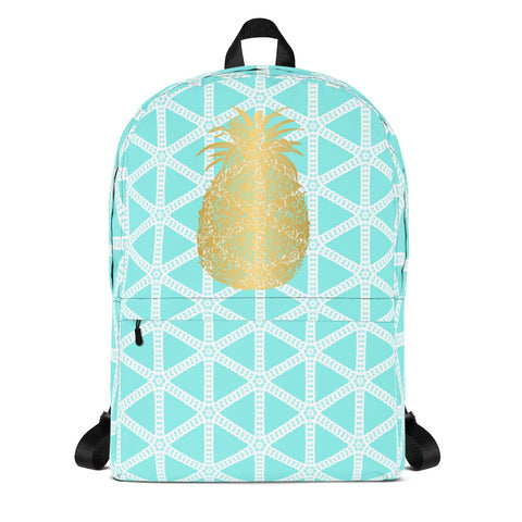 Gold Pineapple with Aqua and White Grid- Backpack