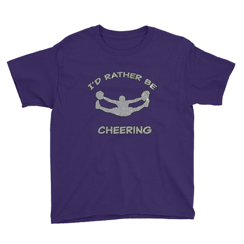 I'd Rather Be Cheering- in Silver Glitter Design-Unisex Youth Short Sleeve T-Shirt