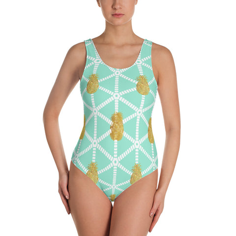 Women's Mint and Gold Pineapple One-Piece Swimsuit
