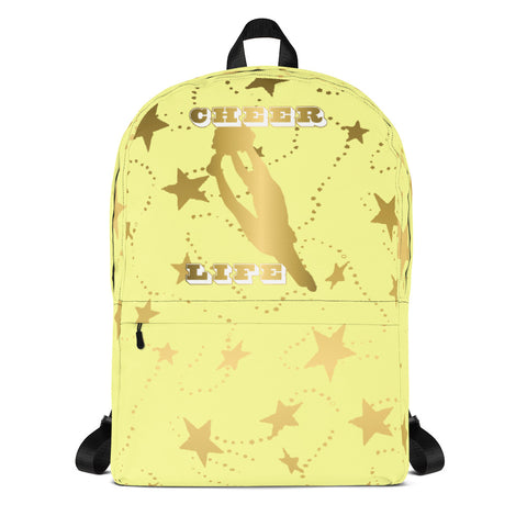 Cheer Life Silhouette in Gold with Gold Stars- Style 8- Backpack-Great for Teams and Squads