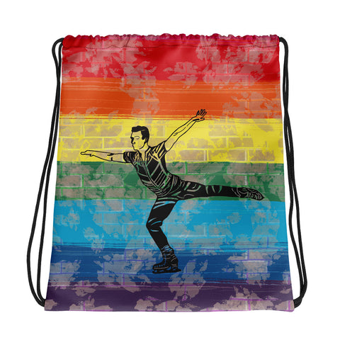 Male Skater on Pride Flag Brick Deign Background Drawstring Bag/ Cinch Sak