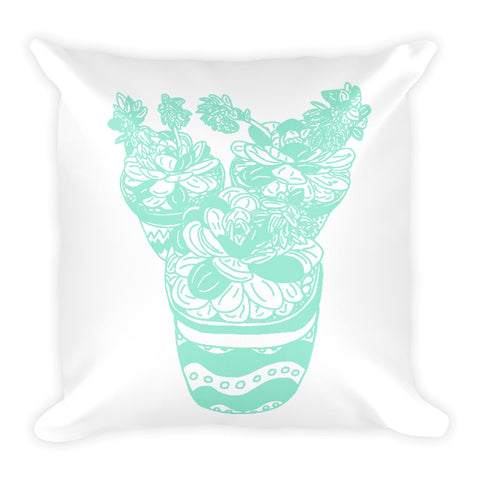 Trio of Succulents in Mint-Square Pillow