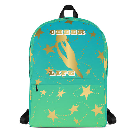 Cheer Life Silhouette in Gold with Gold Stars- Style 6- Backpack-Great for Teams and Squads