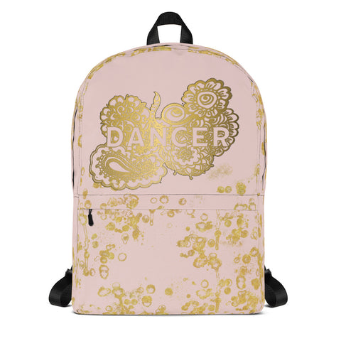 Dancer Doodle in Pink and Gold Flake Backpack- Great for Teams and Groups