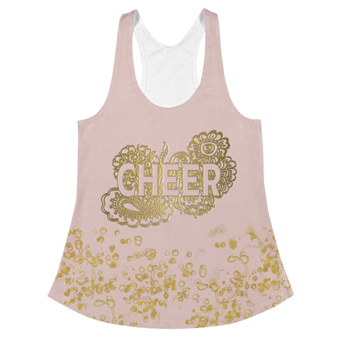 Cheer Doodle Women's Racerback Tank in Pink and Gold Flake-Style 2