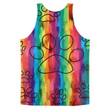 Rainbow Cat Paws Short Sleeve Adult Classic Fit Tank Top (unisex)