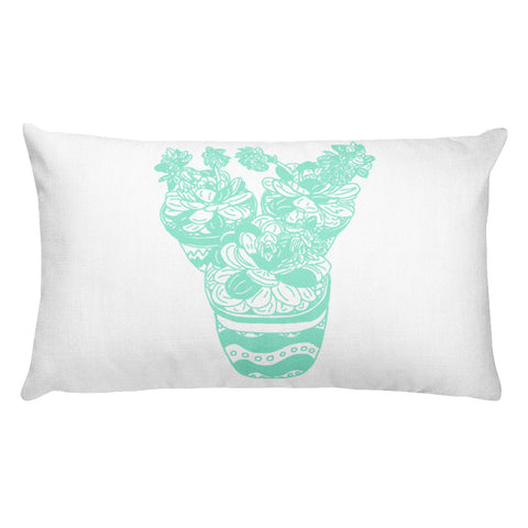 Trio of Succulents in Mint-Rectangular Pillow