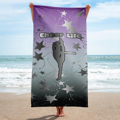 Cheer Life- Silver Stars on Purple to Black Gradient Background