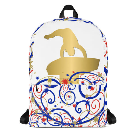 Gymnastics Vault Silhouette in Gold Backpack